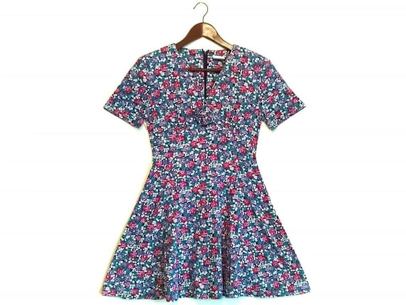 Vintage 1980s 1990s floral grunge mini dress