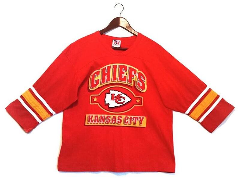5d9572ec Vintage Kansas City Chiefs half sleeve shirt // vintage Kansas City Chiefs  KC NFL v-neck jersey t-shirt