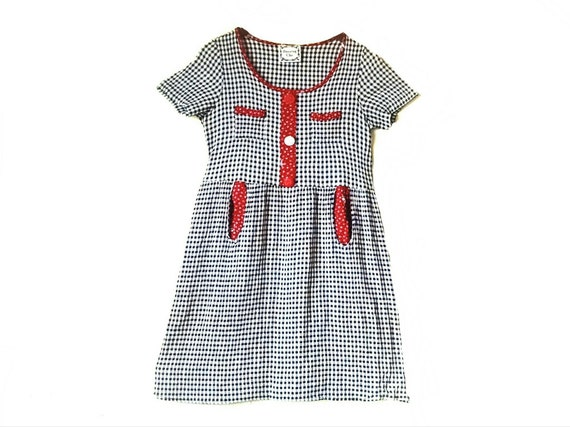 Vintage 1990s gingham babydoll mini dress // 1990s