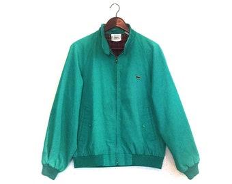 Vintage 1980s Lacoste bomber hipster plaid jacket