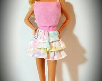 Barbie Doll Size 12 inch Doll - Pastel Multi-Color Skirt and Pink Shirt Combo - Doll not included