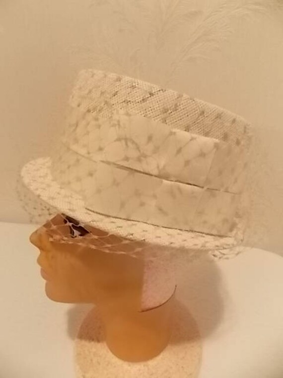 So very adorable! Vintage Valerie Modes hat with netting and bow detail off white