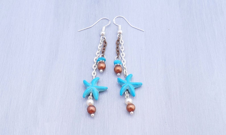 Beach jewelry turquoise sea star earrings Turquoise and silver earrings sea pearl earrings Mixed metals starfish earrings with turquoise