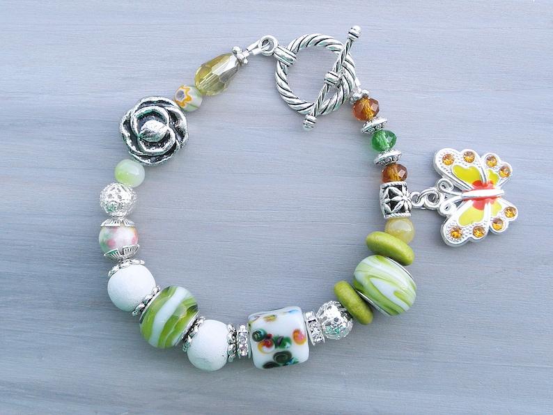 Green chunky bracelet hippie boho bracelet boho fashion Butterfly bracelet gypsy Bohemian jewelry