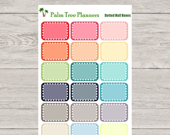 Dotted Half Boxes Planner Stickers