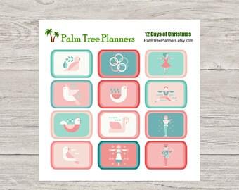 12 Twelve Days of Christmas Planner Stickers