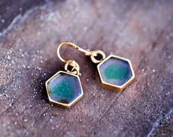 Sea glass earrings, Geometric jewelry, Hexagon, Mother's day gift, Gold plated, Minimalist, nature inspired, gift for her