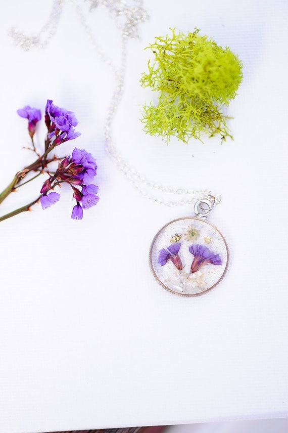 real flower necklace Pressed Flower jewelry purple flower necklace 24k gold flower nature terrarium Purple star Phlox necklace