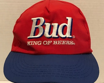 186844ad156 Bud King of Beers Vintage Red Blue Snapback Hat Cap