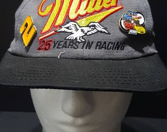 Vintage Miller 25 Years In Racing  2 Autographed Adjustable Snapback Hat  Made In USA fe1bd7f1e206