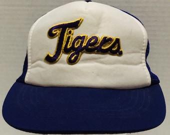 e5fa32f1a LSU Tigers Script Vintage Foam Trucker Mesh Snapback Hat Cap