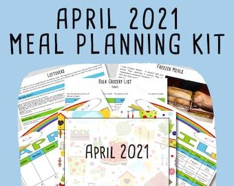 APRIL 2021 Monthly Breakfast, Lunch & Dinner Budget Meal Planner w/ Grocery List, Cookbook, Freezer Meal Planner + Easter Planner