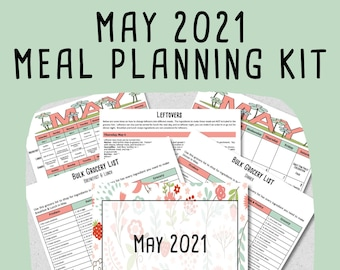 MAY 2021 Monthly Breakfast, Lunch & Dinner Budget Meal Planner w/ Grocery List, Cookbook, Freezer Meal Planner + BLANK Planner - PRINTABLE