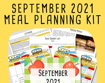 SEPTEMBER 2021 Budget Monthly Meal Planner w/ Grocery List and Cookbook - PRINTABLE - Menu Plan - Budget Planner - Freezer Meal - Meal Plan