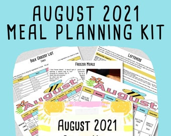 AUGUST 2021 Budget Monthly Meal Planner w/ Grocery List and Cookbook - PRINTABLE - Menu Plan - Budget Planner - Freezer Meal - Meal Plan