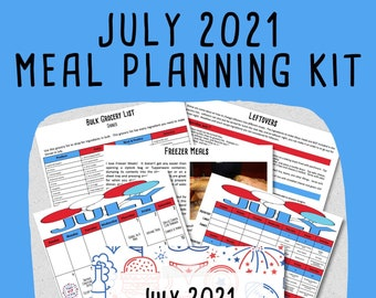 JULY 2021 Budget Monthly Meal Planner & Freezer Meal Planner w/ Grocery List and Cookbook - PRINTABLE - Menu Plan - Pre-Planned Meal Plan