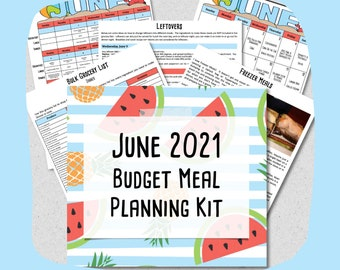 JUNE 2021 Budget Monthly Breakfast, Lunch and Dinner Meal Planner w/ Grocery List & Cookbook + Freezer Meal Planner - PRINTABLE - Menu Plan
