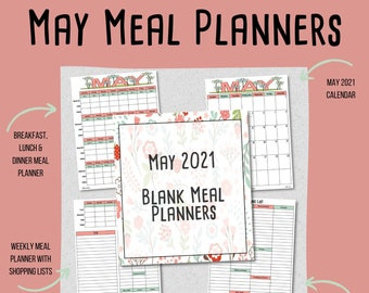 MAY 2021 Meal Planning Printables - Monthly Meal Plan - Weekly Meal Plan - Shopping List -  Blank Menu Plan