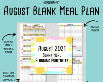 AUGUST 2021 Meal Planning Printables - Monthly Meal Plan - Weekly Meal Plan - Shopping List - Menu Planning Printables - Instant Download