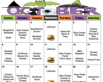 October Weekly & Monthly Menu Plan with Grocery List   Fall Menu   Printable   Grocery List   Halloween Menu   Meal Planner   Dinner Menu