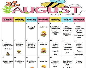 monthly grocery list and meal planner