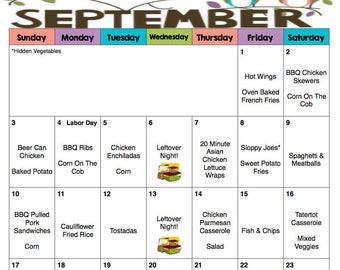 September 2017 Weekly & Monthly Menu Plan   Meal Plan   Hunger Action Month   Menu Plan With Grocery Lists   #NoKidHungry   Labor Day