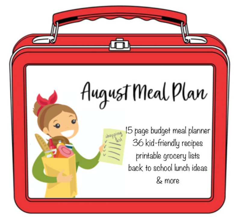 Monthly and Weekly Meal Plan with Grocery Lists and Recipes - Meal Planner  - Budget Planner - Back To School - Breakfast, Lunch, Dinner Menu