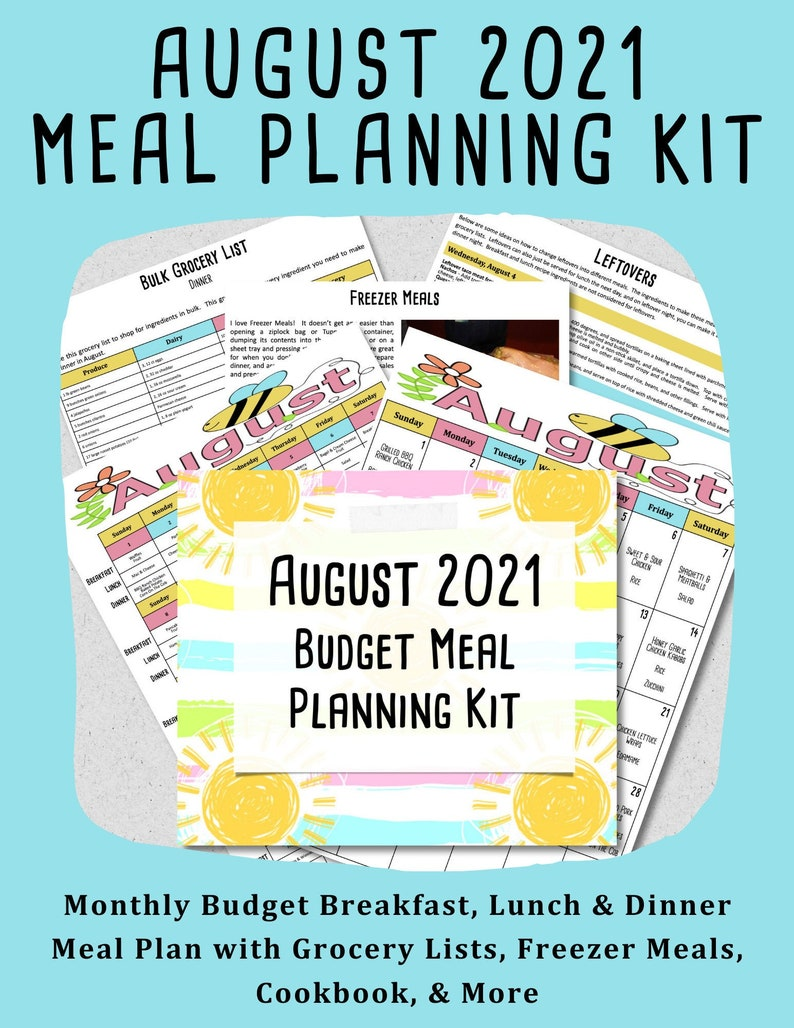 AUGUST 2021 Budget Monthly Meal Planner w/ Grocery List and image 0