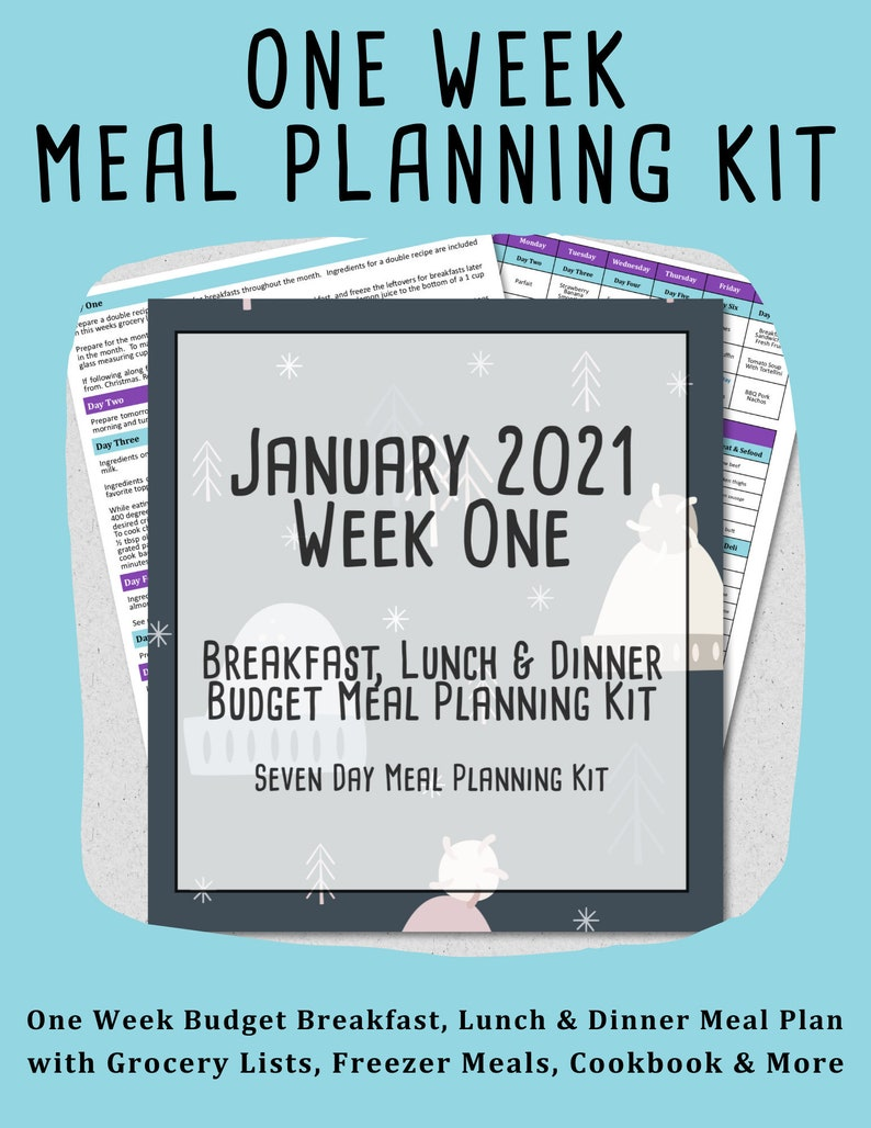 January 2021 Weekly Meal Planner  Week One  7 Day Budget image 0