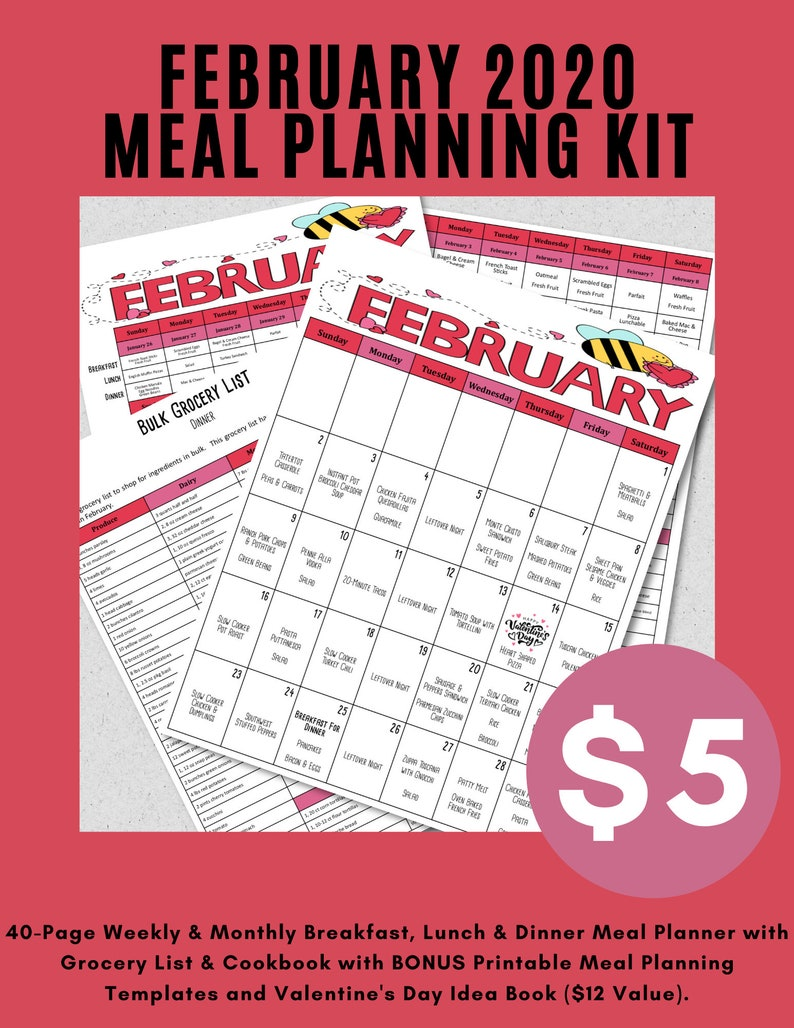 Weekly & Monthly Breakfast Lunch and Dinner Meal Planner with image 0