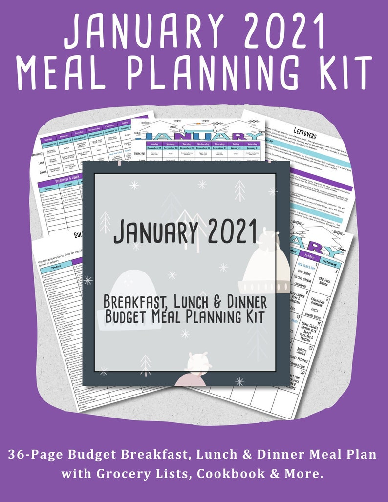 January 2021 Monthly Breakfast Lunch and Dinner Budget Meal image 0