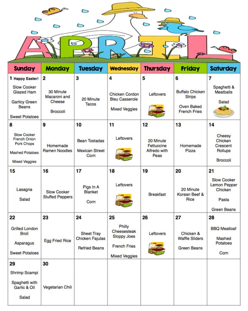 April 2018 Monthly Meal Planner with Weekly Grocery Lists and image 0