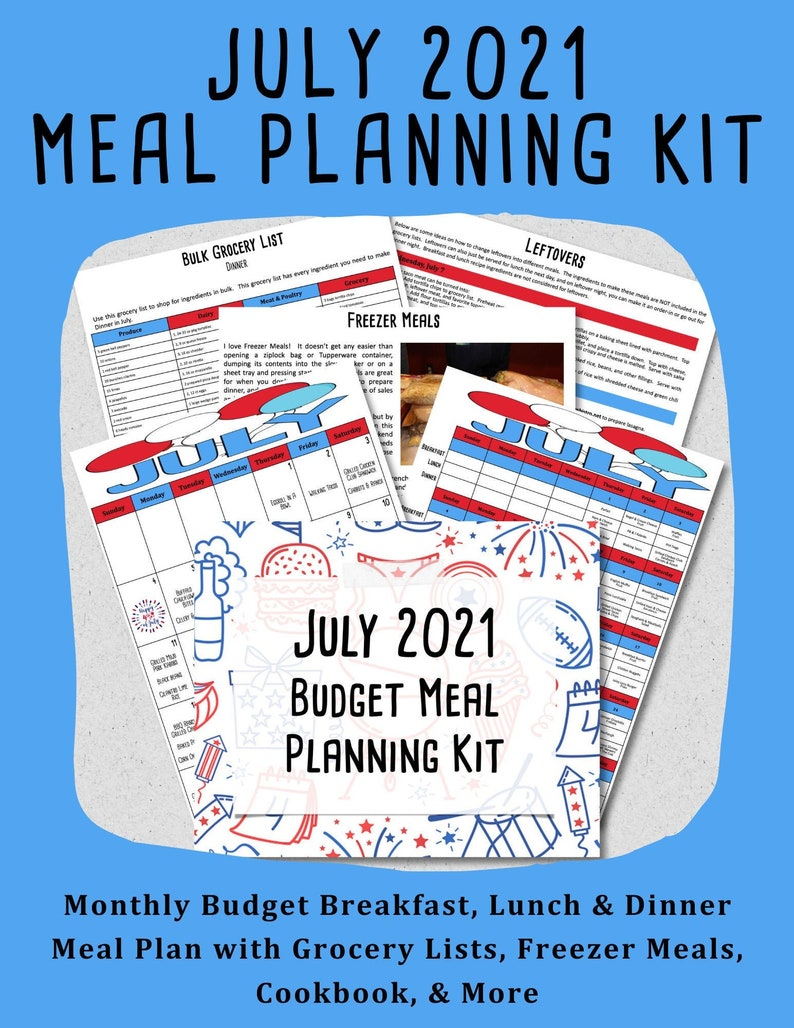 JULY 2021 Budget Monthly Meal Planner & Freezer Meal Planner image 0