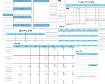 Menu Planning Kit   Printable Meal Planner   Monthly Menu Plan With Grocery List   Weekly Menu Plan   Kitchen Inventory