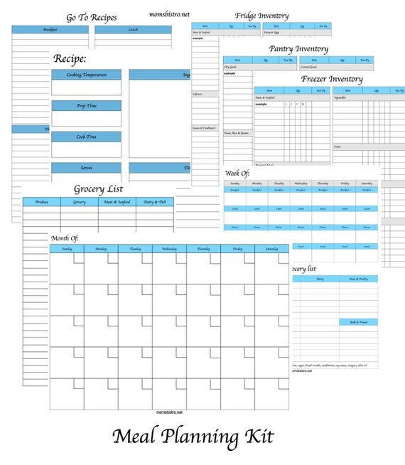 menu planning kit printable meal planner monthly menu plan