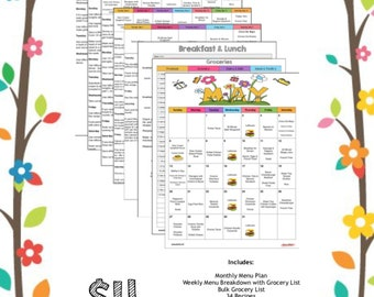 May 2018 - Monthly Meal Planner with Weekly Grocery List & Recipes - Budget Meal Planner - Menu Plan - Mother's Day - Cinco De Mayo