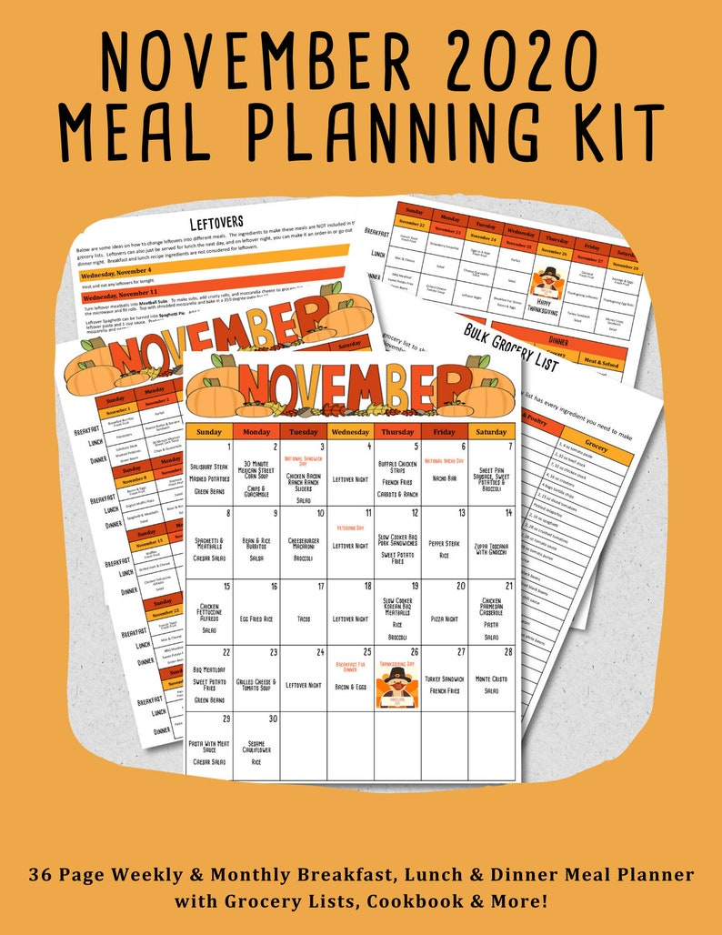 November 2020 Weekly & Monthly Breakfast Lunch and Dinner image 0