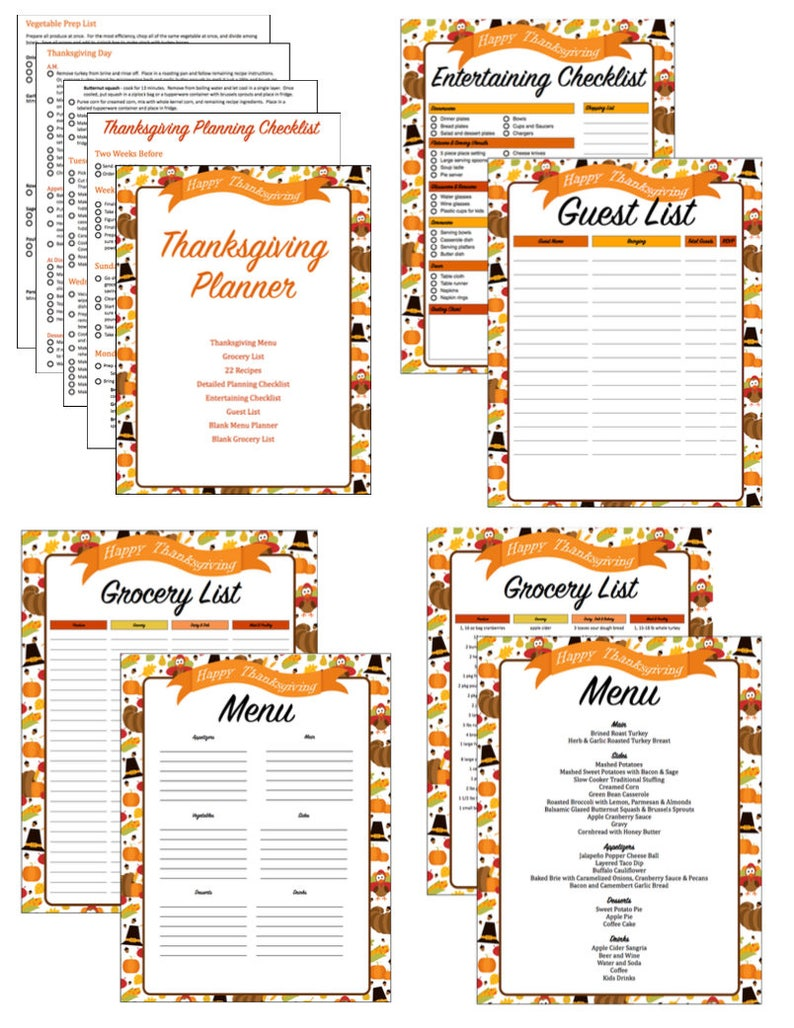 photograph about Thanksgiving Menu Planner Printable referred to as Thanksgiving Planner - Thanksgiving Menu - Evening meal Planner - Building List - Grocery Record - Visitor Record - Exciting List - Recipes