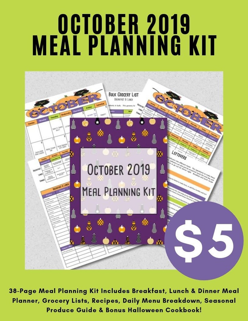 October 2019 Meal Planner Budget Friendly Monthly Weekly Meal image 0