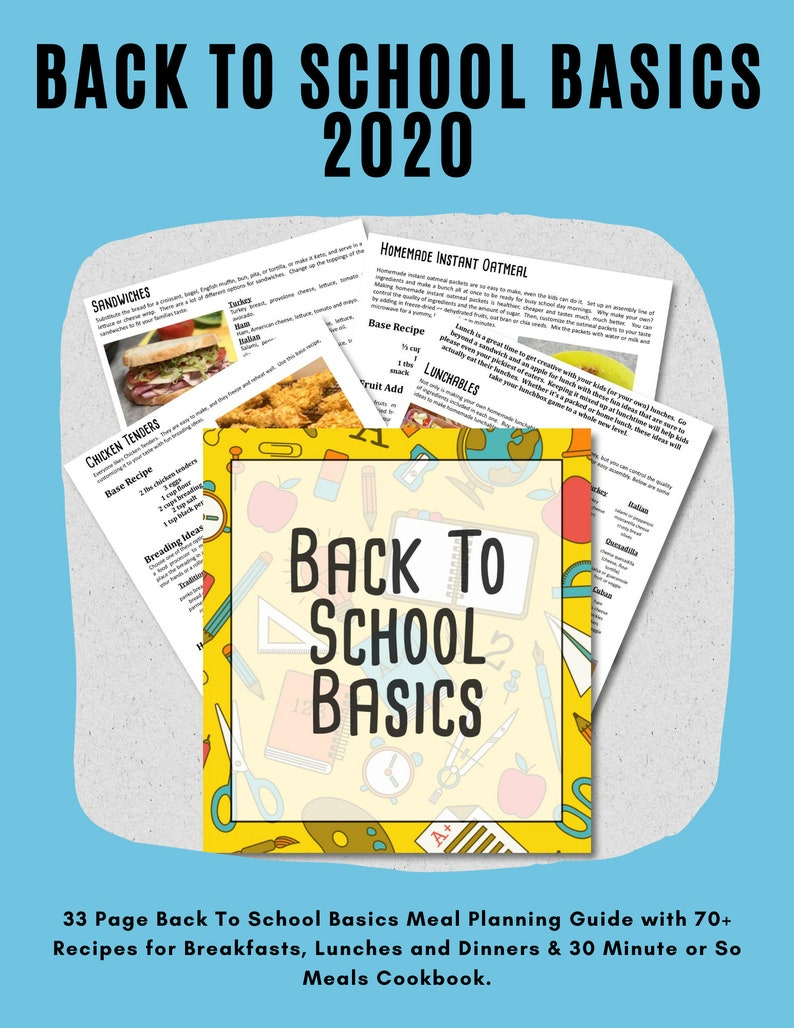 2020 Back To School Basics Meal Planning Guide School Lunch image 0