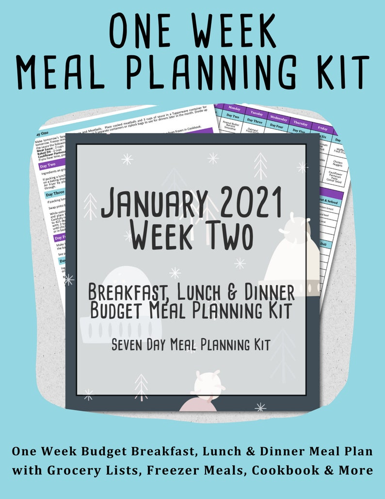 January 2021 Weekly Meal Planner  Week Two  7 Day Budget image 0