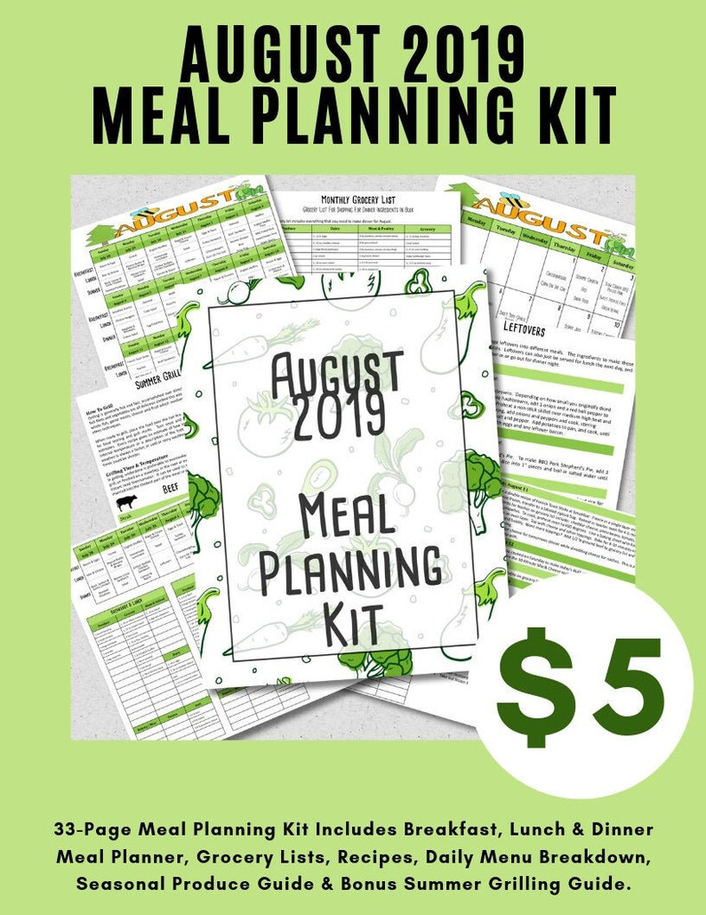 August Meal Planner Budget Friendly Monthly Weekly Meal image 0