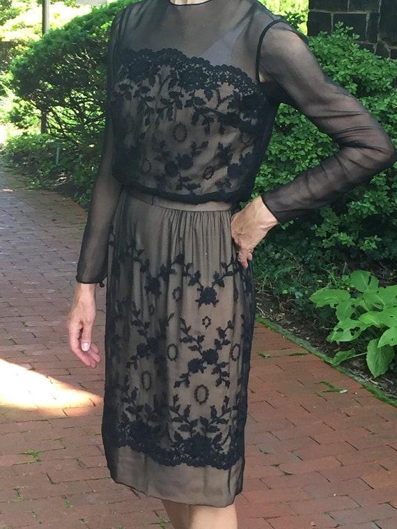 Carlye Black Sheer Silk Dress//Silk Chiffon Dress/