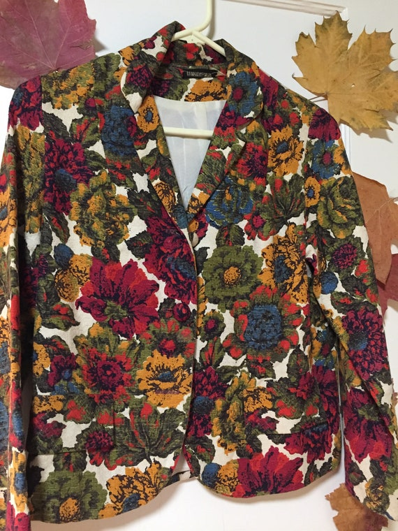 1960's Floral Cropped Jacket Joseph Magnin Size 10