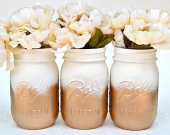 Painted Mason Jars, Mason Jars Bulk, Gold Jars, Metallic Jars, Dorm Decor, Painted Jars, Gold Centerpiece, Hipster Decor, Mason Jars, Chic