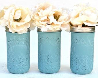 Dorm Decor, Chic Vases, Chic Centerpiece, Boho Centerpiece, Wedding Centerpiece, Teal Decor, Spring Centerpiece, Summer Centerpiece, Jars