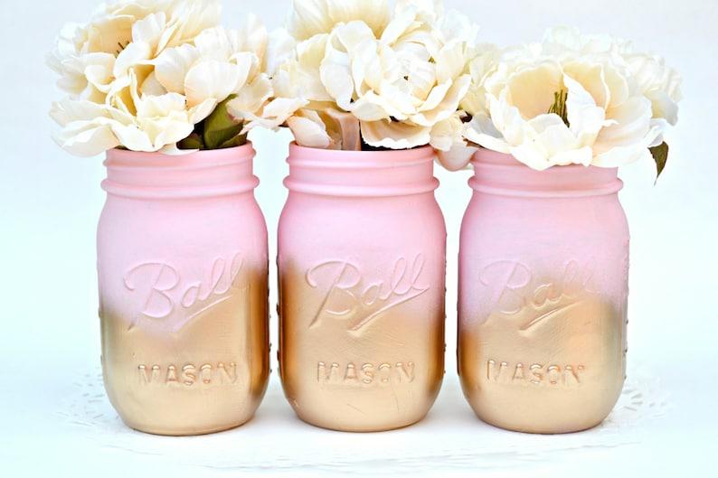 Mason Jars Bulk, Painted Jars, Mason Jars, Pink Jars, Gold Jars, Wedding  Centerpiece, Dorm Decor, Chic Centerpiece, Baby Shower Decor, Jars