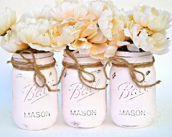 Pink Jars, Painted Jars, Jar Centerpiece, Distressed Jars, Jar Vases, Chic Decor, Wedding Jars, Jar Decor, Wedding Centerpiece, Spring Jars