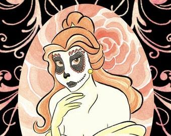 Dia de los Muertos Princesa Belleza - Day of the Dead Disney Princess Belle Beauty and the Beast