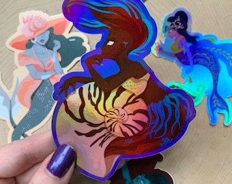 Mermaid Stickers - Holographic, Seashell, Cuttlefish, Stingray, Medieval, Archery, Mermay